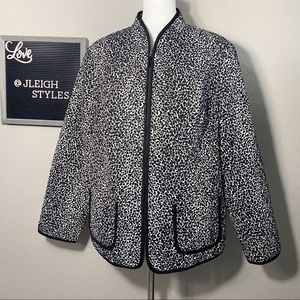 Black White Print Quilted Texture Full Zip Jacket